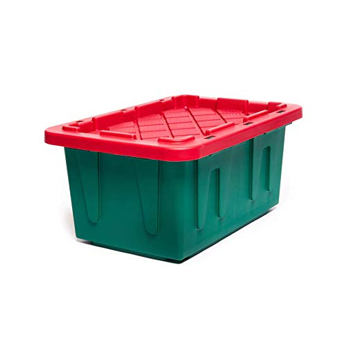 Homz 15 Gallon Durabilt Tough, Green Base Red Lid, Set of 6 Heavy Duty Holiday Storage Container,