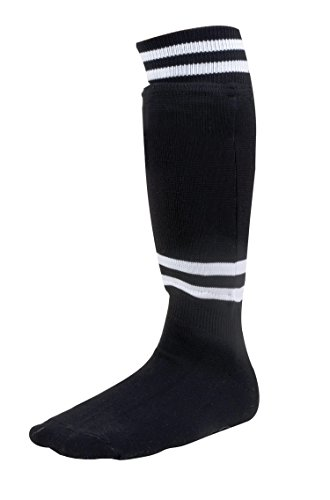 Champion Sports Youth Sock Style Soccer Shinguards - Ages 8-10/Large - Black (Pair)