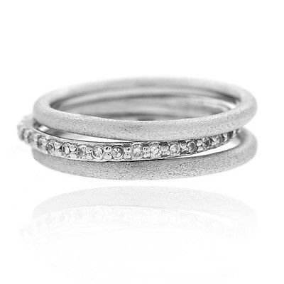 Calvinci - Silver Tone CZ Stackable Brushed Band Rings Set Size 6 YRS1330