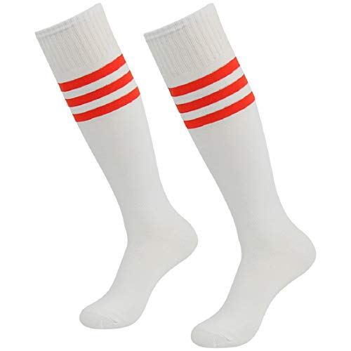 3street Soccer Socks, Unisex Youth Breathable Over Knee High Triple Stripe Sport Football School Game Team Tube Halloween Cosplay Socks White+red Stripe 2-Pairs,7-13