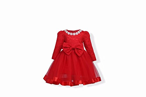 Lace Aline Wedding Party Dress for Kids with Sleeves Red 140cm