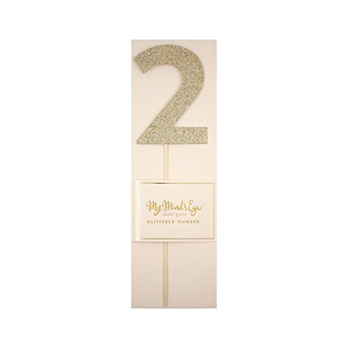 My Mind's Eye Basic Gold Glitter Number Cake Topper Party Pick, Quantity 1 (Number 2)
