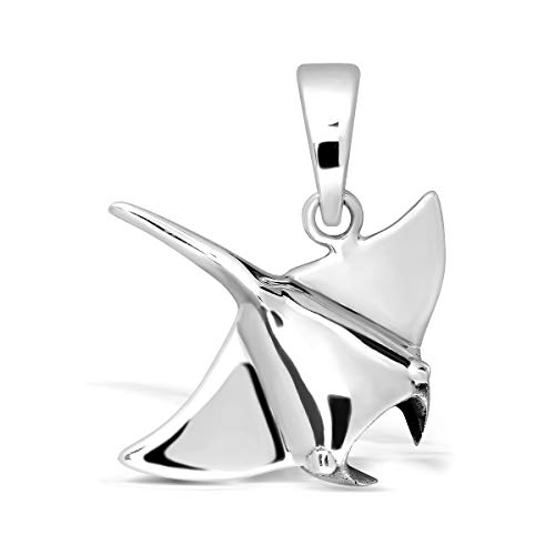 WithLoveSilver 925 Sterling Silver Ocean Sea Aquatic Animal Fish Stingray Pendant