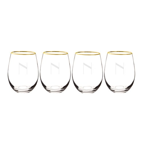 4 Wine Glass Letter - Cathy's Concepts 1120G-4-N Personalized Gold Rim Stemless Wine Glasses (Set of 4), Clear