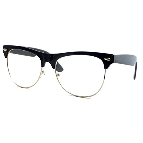 VINTAGE Clubmaster Thick Half Rim Trendy Frame Clear Lens Eye Glasses - And Silver Black Clubmasters