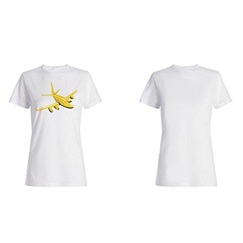 Gelber Flugzeugpilot lustiger Weinlese Retro Damen T-shirt d791f