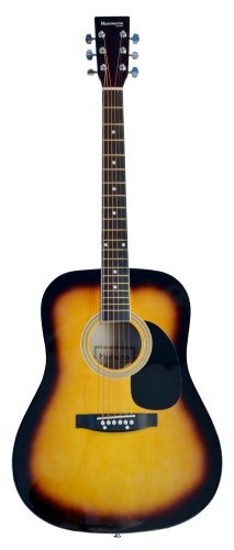 Full Size Dreadnought SUNBURST Acoustic Guitar with Free Carrying Bag and Accessories & DirectlyCheap(TM) Translucent Blue Medium Guitar Pick 41-Pro-Pack