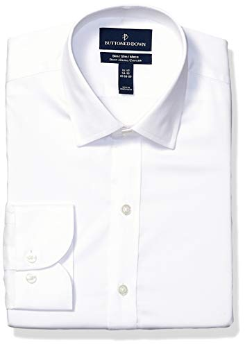 BUTTONED DOWN Men's Slim Fit Tech Stretch CoolMax Easy Care Dress Shirt, White, 15.5