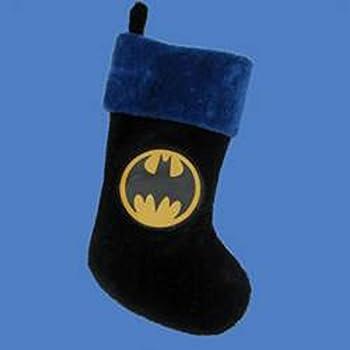 black blue and yellow batman emblem applique plush decorative christmas stocking 20