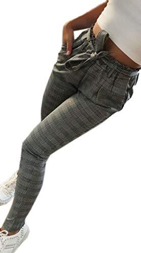 Femmes Mode À Taille Décontractés Simples Gris La Pois Bandages Des Petits Pantalons Haute Pour Avec TSXqtTx