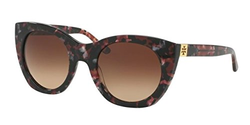 Tory Burch 0TY7097 Pearl Port Tortoise/Dark Brown Gradient Sunglasses - Brown Burch Tory