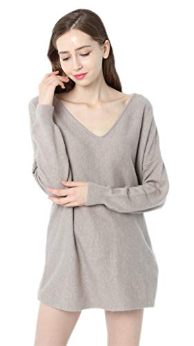 Ailaile Autumn Winter New 100% Cashmere Sweater Women V-Neck Loose Pullover Female Sexy Wool Tops (Medium, Khaki)