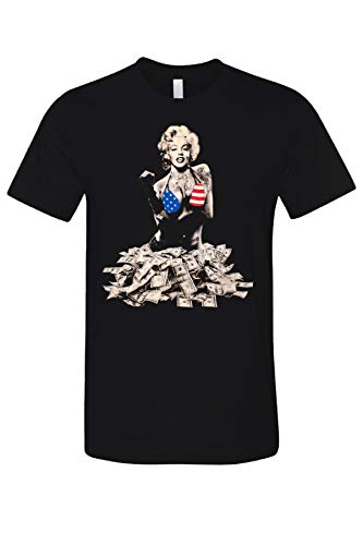 Marilyn Monroe with Rich Money Urban Vintage Graphic Printed Men's Casual T-Shirt Black Large
