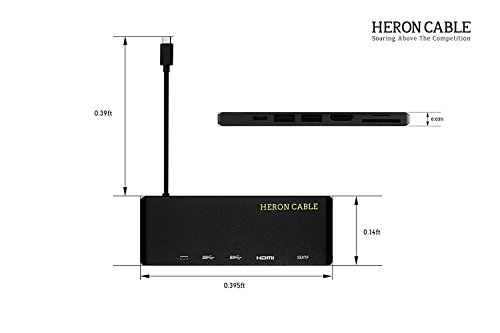 USB C Hub, Heron Cable USB-C 3.1 (Thunderbolt 3) Multiport Aluminum Adapter with Type C 60W Power Delivery, HDMI 4K@30Hz, 2x USB 3.0, Card Reader for MacBook Pro and more Windows USB C Devices (Black) by HERON CABLE (Image #5)