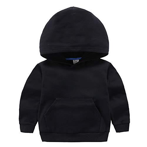 ALALIMINI Boys&Girls Hoodies Cotton Sweatshirt Pullover Sweats Unisex Toddler Kids Hood with Big Pocket 2T 3T 4 5 Black ()