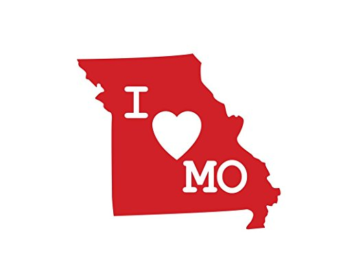 (ND338R I Love Missouri Decal Sticker | 5.5-Inches By 4.7-Inches | Premium Quality Red)