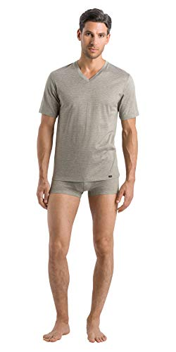 HANRO Men's Sporty Stripe Short Sleeve V-Neck Shirt, Toned Green, XX-Large