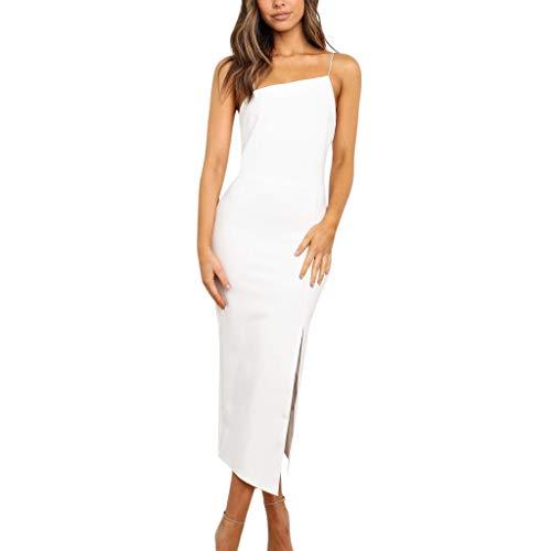 Women Summer Dresses Sexy Spaghetti Strap Solid Midi Bodycon Dress Side Split Cocktail Prom Gown Maxi Dress White