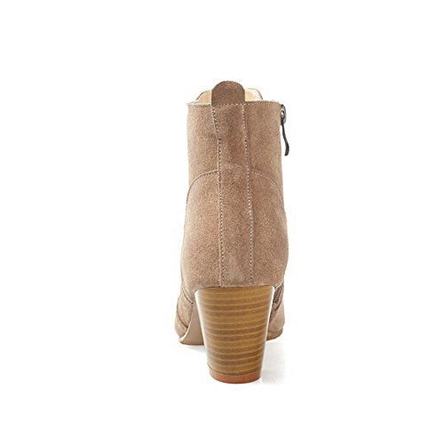 Women's Low Heels Boots Toe Closed Round Suede Nude Kitten top Frosted Imitated AmoonyFashion dnZPvqx0pd
