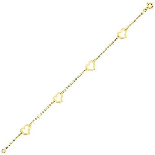 So Chic Bijoux © Bracelet Femme Chaîne Longueur 18 cm Coeurs Ajourés Or Jaune 750/000 (18 carats)