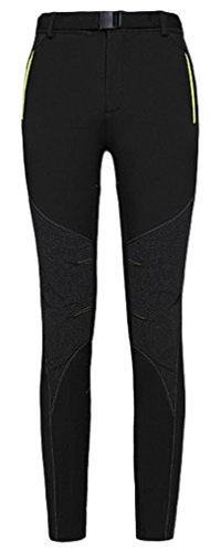 ChezMax Outdoor Women's Fleece-Lined Soft Shell Ski Snow Pants-Insulated, Water-Resistant, Windproof, Black, M
