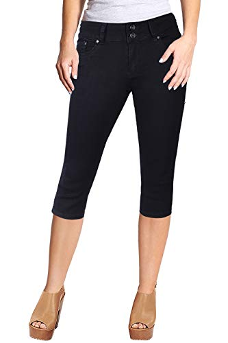 2LUV Women's Stretchy 5 Pocket Skinny Capri Jeans Black 7