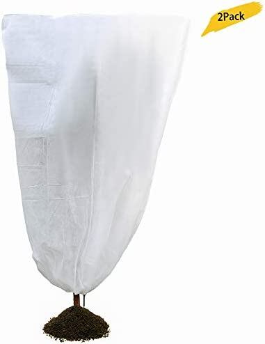 Heavy Duty Plant Cover Warm Worth Frost Protection Bag Blanket Jacket,Shrubs Trees from Being Damaged, Bad Weather Pests for Season Extension Frost Protection,60gsm,White 47 x 71 ,2Pack