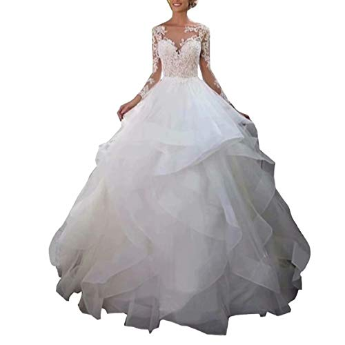 Dingdingmail 2019 Ruffles Wedding Dress Bridal Gowns Illusion Long