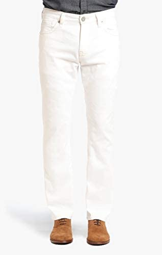 34 Heritage Men's Courage Mid-Rise Straight Leg Jeans, White Denim, 35 x 30