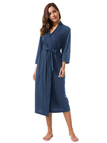 SIORO Women's Kimono Robes Cotton Lightweight Robe Plus Size Long Knit Bathrobe Soft Sleepwear V-Neck Ladies Nightwear,Blue Ashes XXXL