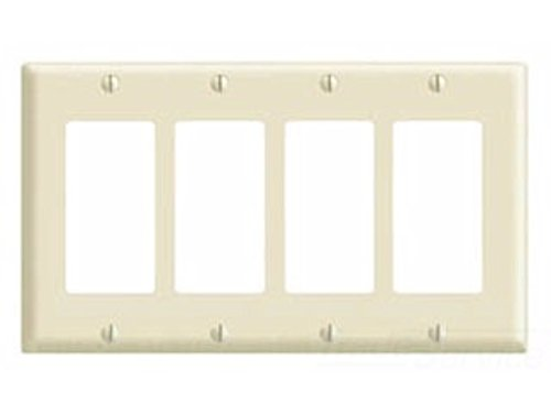 Leviton 80412-NW 4-Gang Decora/GFCI Device Wallplate, Standard Size, Thermoplastic Nylon, Device Mount, White -