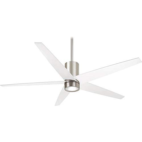 Minka-Aire F828-BN WH, Symbio 56 Ceiling Fan with LED Light, Brushed Nickel Finish with White Blades