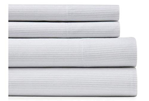 Tommy Hilfiger Queen Sheet Set Ithaca Stripe Gray White Cotton Flannel Bedding ()