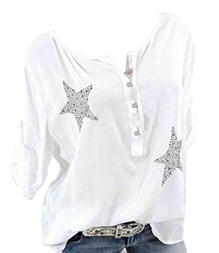 - GRMO Women Crewneck Long Sleeve Roll Up Sleeve Pullover Rhinestone T-Shirts White US L