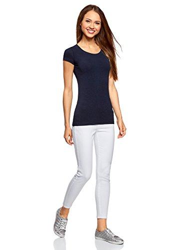 oodji Ultra Mujer Camiseta Básica Entallada (Pack de 3) Azul (7900N)