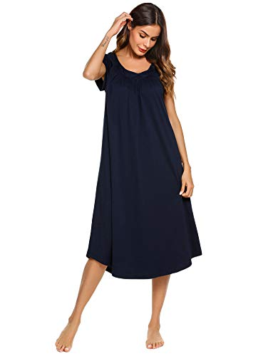 Ekouaer Casual Nightshirt Women's Cap Sleeve Nightgown Navy Large -