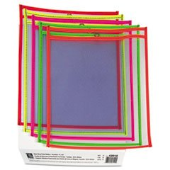 (3 Pack Value Bundle) CLI43910 Stitched Shop Ticket Holder, Neon, Assorted 5 Colors, 9 x 12 by CLI43910