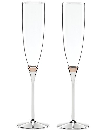 Kate Spade New York Rosy Glow Wedding Toasting Flutes Pair Champagne Silver Lenox