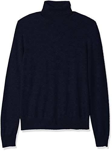 - BUTTONED DOWN Men's 100% Premium Cashmere Turtleneck Sweater, Midnight Navy, Large