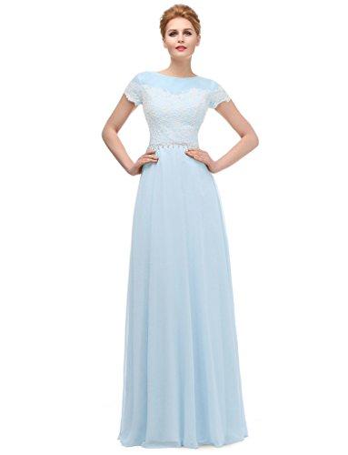 Ysmo mujeres 2016de la gasa con encaje vestido largo de noche de manga corta para vestidos azul azul 46
