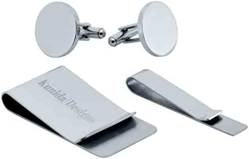 6efee32820 Kunida Designs - Titanium Mens Cuff Links and Stainless Steel Tie Bar and  Money Clip Set