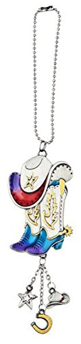 Red Purple and Blue Cowboy Hat and Boots Car Charm - By Ganz