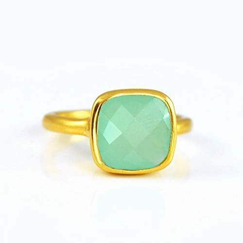 Sterling Silver Ring Stackable Ring Proposal Ring Gold Plated Ring Aqua Chalcedony Ring Handmade Ring Everyday Ring Crescent Moon Ring