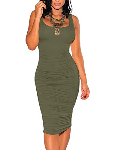 (BEAGIMEG Women's Sexy Ruched Bodycon Casual Solid Sleeveless Tank Midi Dress Olive)