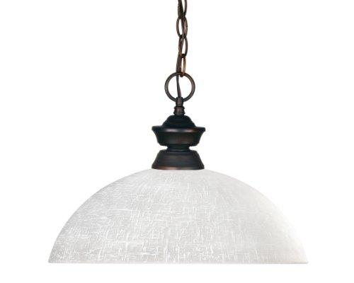 Z-Lite 100701OB-DWL14 Riviera One Light Pendant, Steel Frame, Olde Bronze Finish and White Linen Shade of Glass Material
