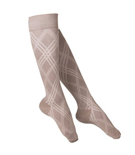 TOUCH Compression Socks for Women, 15-20 mmHg, Argyle, Cotton, 1 pair, Tan, Medium by TOUCH Compression