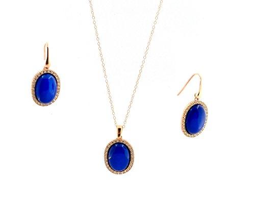 Parure Collier avec pendentif ovale pierre bleu contornata de zirconium blancs en argent 925 sterling plaqué or blanc