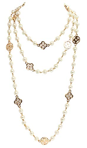 - Fashion Jewelry MISASHA Bridal and Chic Long Imitation Pearl 4Leaf Clover Strand Necklace (Gold Clover)