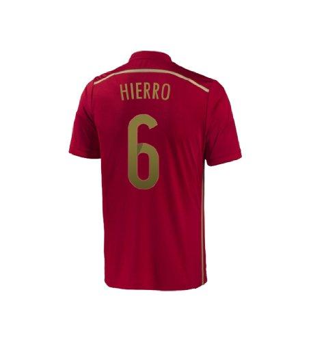 わかるシンプルな寮Adidas HIERRO #6 Spain Home Jersey World Cup 2014/サッカーユニフォーム スペイン ホーム用 ワールドカップ2014 背番号6 イエロ