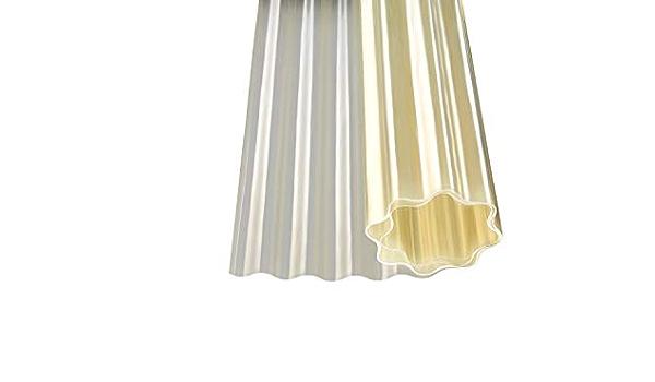 Plancha ondulada de poliéster en rollo, translúcida, color natural, 5000 x 1000 mm